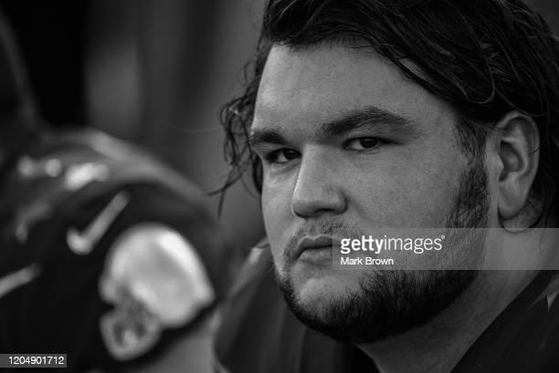 Quenton Nelson of the Indianapolis Colts looks on during the 2020 NFL Pro Bowl at Camping World Stadium on January 26 2020 in Orlando Florida