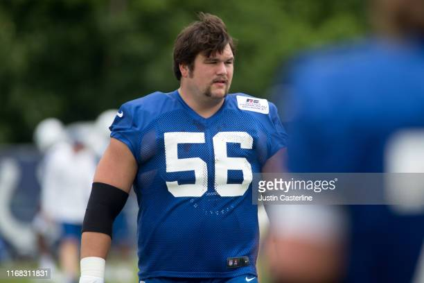 Quenton Nelson of the Indianapolis Colts on the field during the Colts' training camp at Grand Park on July 25 2019 in Westfield Indiana