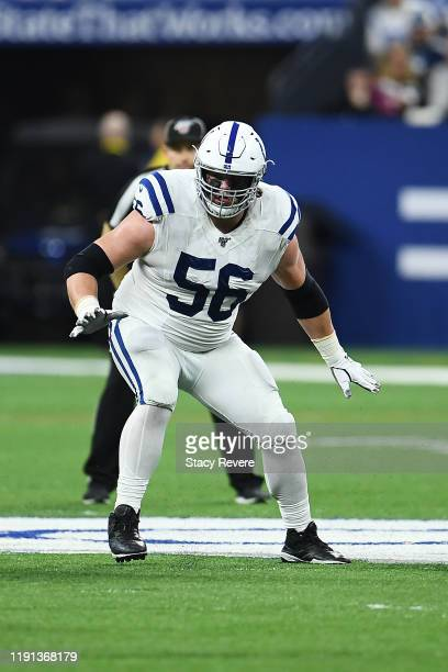 Quenton Nelson of the Indianapolis Colts reacts to a play during a game against the Tennessee Titans at Lucas Oil Stadium on December 01 2019 in...