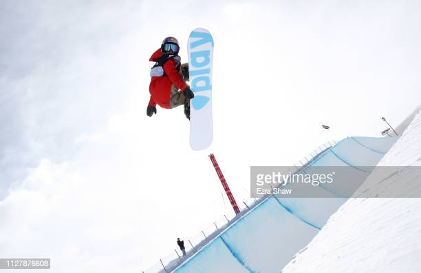 Queralt Castellet of Spain competes in the Snowboard Halfpipe Qualification of the FIS Snowboard World Championships on February 06 2019 at Park City...