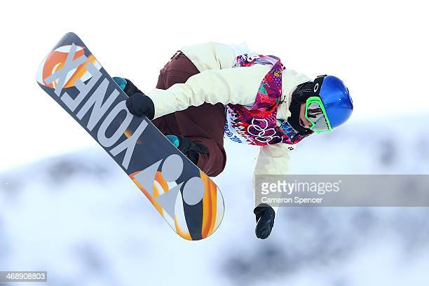 Queralt Castellet of Spain competes in the Snowboard Women's Halfpipe Qualification Heats on day five of the Sochi 2014 Winter Olympics at Rosa...