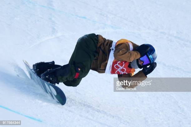 Queralt Castellet of Spain crashes during the Snowboard Ladies' Halfpipe Final on day four of the PyeongChang 2018 Winter Olympic Games at Phoenix...