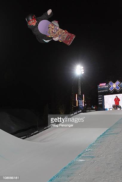 Queralt Castellet of Spain does a Lien Air above the halfpipe during practice as she went on to finish fifth in the Women's Snowboard Super Pipe at...