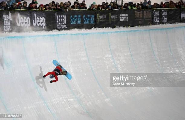 Queralt Castellet of Spain falls during the Women's Snowboard Superpipe final at the 2019 Winter X Games on January 26 2019 in Aspen Colorado