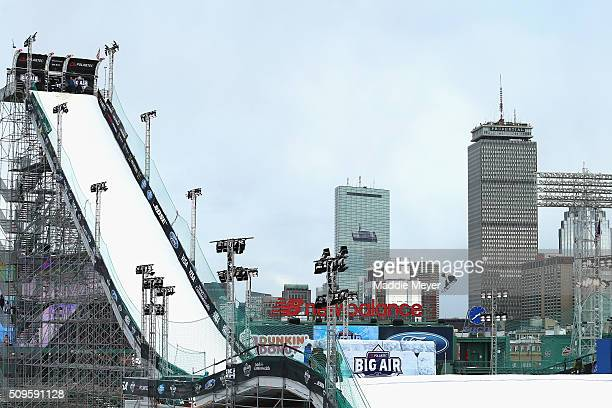 Queralt Castellet of Spain participates in the snowboarding qualifying round during Polartec Big Air Day 1 at Fenway Park on February 11 2016 in...
