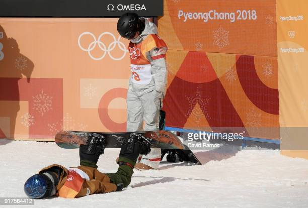Queralt Castellet of Spain reacts during the Snowboard Ladies' Halfpipe Final on day four of the PyeongChang 2018 Winter Olympic Games at Phoenix...