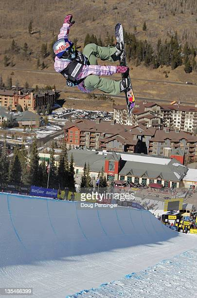 Queralt Castellet of Spain rides to third place in the women's halfpipe finals of the Sprint US Snowboard Grand Prix on December 10 2011 in Copper...