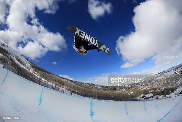 Queralt Castellet of Spain takes a practice run in the Halfpipe during the 2016 US Snowboarding Park City Grand Prix on February 2 2016 in Park City...