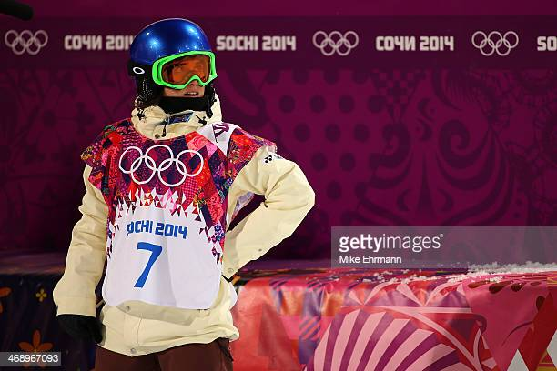 Queralt Castellet of Spainreacts after her run in the Snowboard Women's Halfpipe Finals on day five of the Sochi 2014 Winter Olympics at Rosa Khutor...