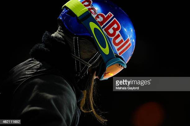 Queralt Castellet prepares to take a run during the Women's Snowboard Superpipe finals Saturday January 24 Winter X Games 2015 on Buttermilk Mountain