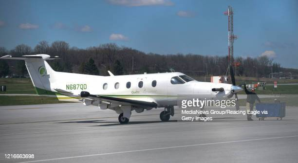 A Quest Diagnostics aircraft is loaded at the Reading Regional Airport in Bern Township PA and ready to transport medical samples to testing...