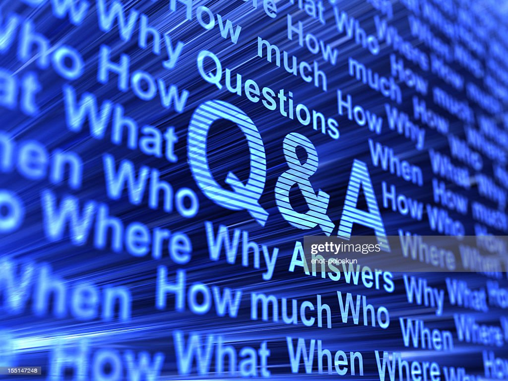 Question and Answer keywords on an abstract blue background : Stock Photo