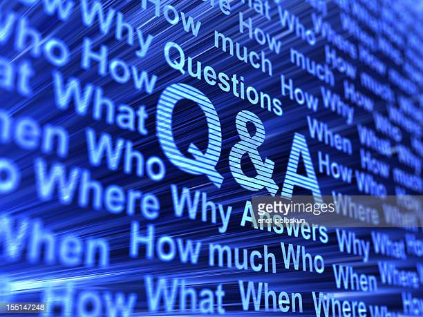 Question and Answer keywords on an abstract blue background
