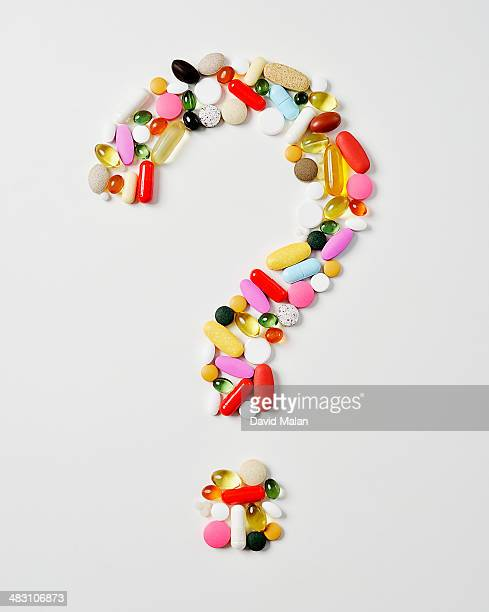 Question mark formed by various pills