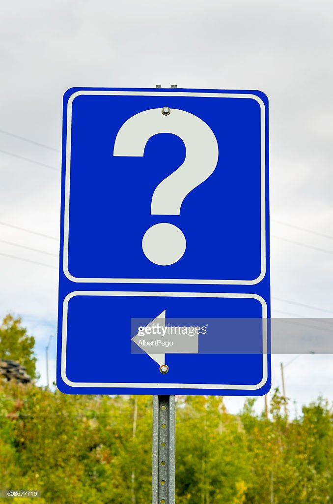 Question Mark on a Road Sign : Stock Photo