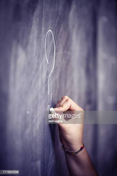 Question mark on the blackboard
