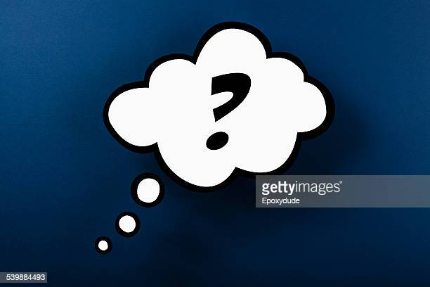 Question mark thought bubble against blue background