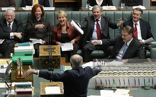 Question Time in the House of Representatives Opposition Front Benchers Bob McMullan Julia Gillard Jenny Macklin Simon Crean and Wayne Swan along...