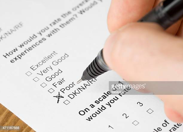 questionnaire form answered poor - checkbox stock photos and pictures