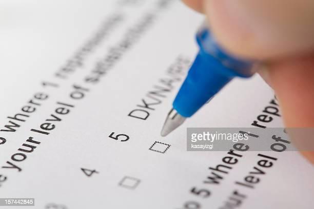 Questionnaire form close-up