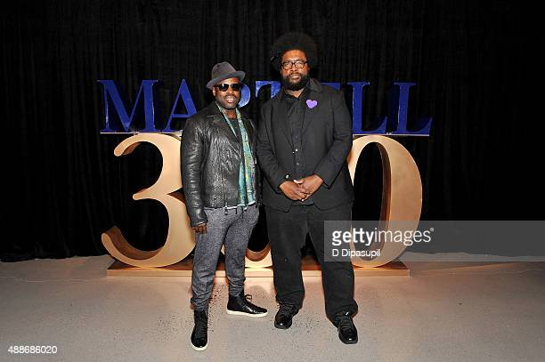 Questlove and Black Thought of The Roots at the Martell 300th Anniversary Celebration at New York Citys One World Trade Centeron September 16 2015 in...