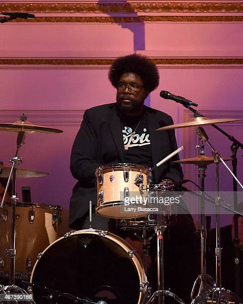 Questlove of The Roots performs onstage during The Music Of David Byrne Talking Heads at Carnegie Hall on March 23 2015 in New York City