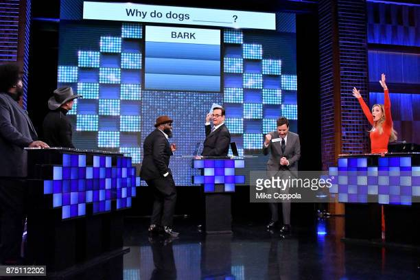 Questlove of The Roots Singer/songwriter Tim McGraw Black Thought of The Roots Comedian Steve Higgins Jimmy Fallon and Faith Hill play a trivia game...
