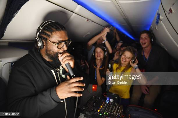 Questlove performs during the first ever inflight silent disco with Delta Air Lines and LSTN Sound Co on July 18 2017