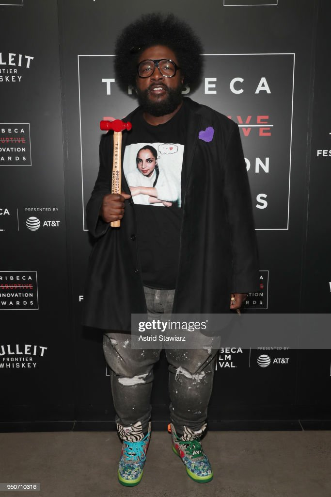 Questlove poses with his award at Tribeca Disruptive Innovation Awards - 2018 Tribeca Film Festival at Spring Studios on April 24, 2018 in New York City.