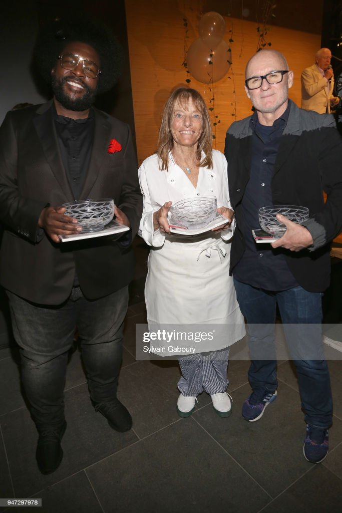 Questlove, Ruth Rogers and Jim Hodges attend Edible Schoolyard NYC 2018 Spring Benefit at 180 Maiden Lane on April 16, 2018 in New York City.