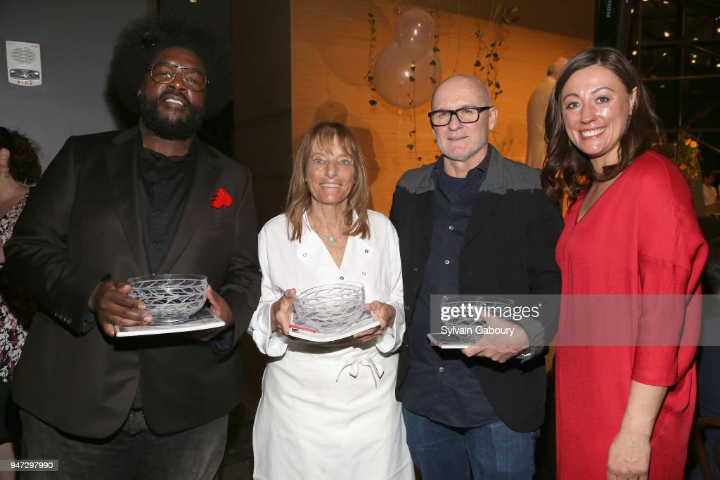 Questlove, Ruth Rogers, Jim Hodges and Kate Brashares attend Edible Schoolyard NYC 2018 Spring Benefit at 180 Maiden Lane on April 16, 2018 in New York City.