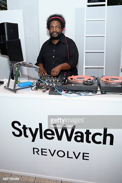 Questlove spins at the StyleWatch x Revolve Fall Fashion Party on the The High Line on August 12 2015 in New York City