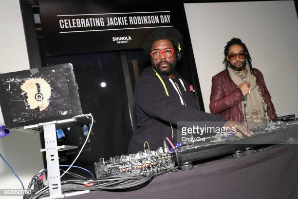 Questlove spins the celebration of Jackie Robinson Day at Shinola's brand new brooklyn storefront on April 15 2017 in New York City