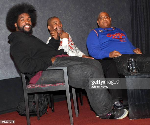 Questlove Tyrone Proctor and Big Bank Hank attend the VH1 Rock Docs screening of Soul Train The Hippest Trip In America at The Paley Center for Media...