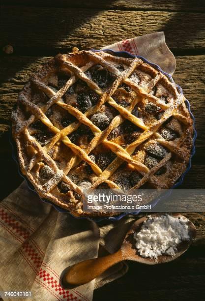 Quetsche plum lattice tart