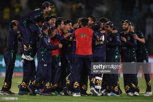 Quetta Gladiators cricketers celebrate after winning the qualifier match between the Peshawar Zalmi and Quetta Gladiators of the Twenty20 Pakistan...