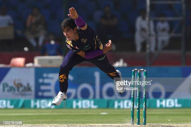 Quetta Gladiators Naseem Shah delivers a ball during the Pakistan Super League T20 cricket match between Karachi Kings and Quetta Gladiators in the...