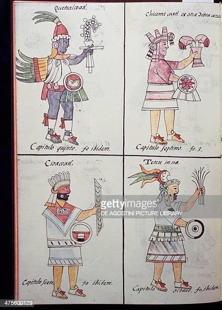 Quetzalcoatl Chicomecoatl Cihuacoatl and Tetcu gods of the ancient Mexicans page from the Florentine Codex bilingual version in Spanish and Nahuatl...