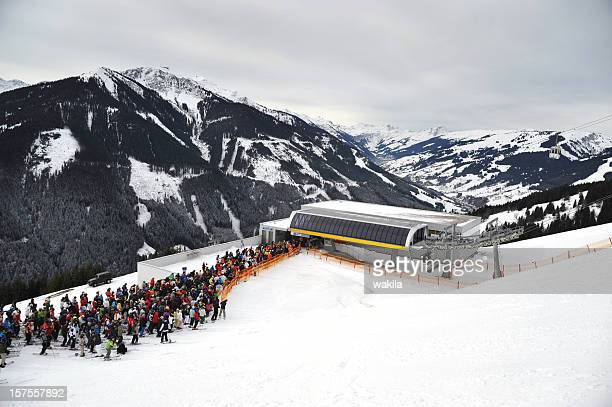 queue at lift - warteschlange - ski lift stock pictures, royalty-free photos & images