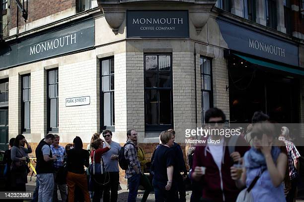 Queue at the Monmouth Coffee Company shop at Borough Market on March 24, 2012 in London, England. Borough Market in Southwark is one of London's...