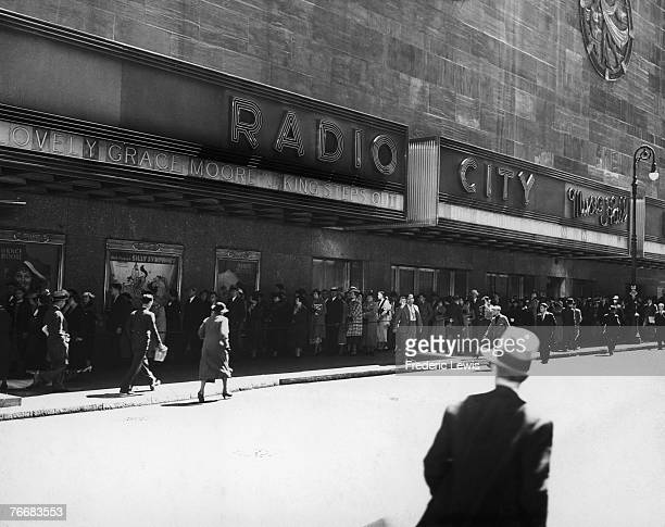 A queue for Josef von Sternberg's musical 'The King Steps Out' outside Radio City Music Hall in the Rockefeller Center New York 1936