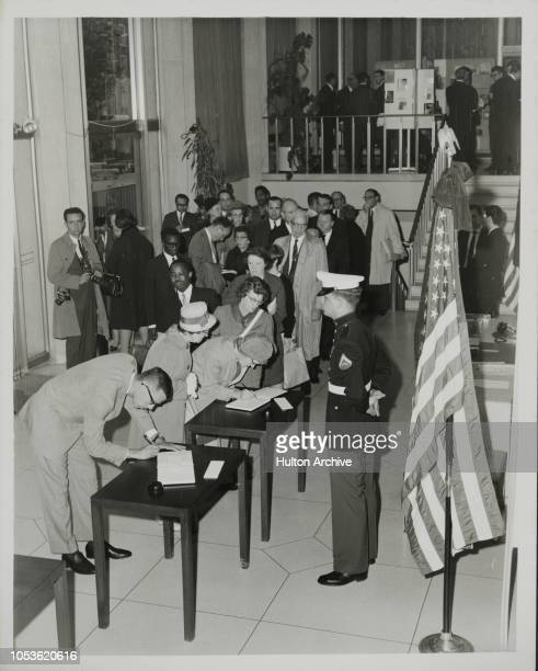 STATE World Statesman Mr ADLAI STEVENSON who collapsed and died in a London Street last night was today lying in state at the US Embassy in Grosvenor...