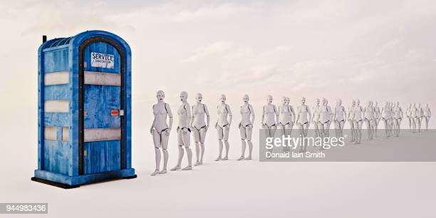 queue of female robots waiting in line to use portable toilet - portable toilet stock photos and pictures