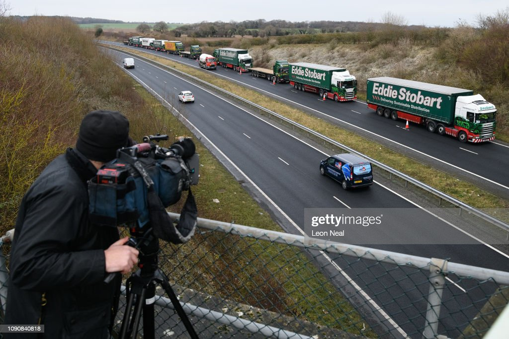 Government Tests Plans To Ease Dover Traffic Chaos After Brexit : News Photo