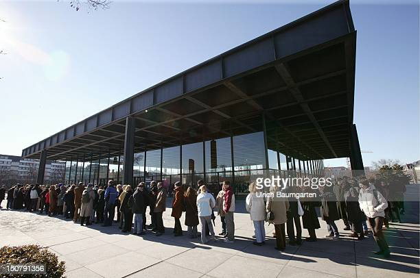 Queue of people who want to see the pieces of art of the Museum of Modern Art in the Neue Nationalgallerie Berlin