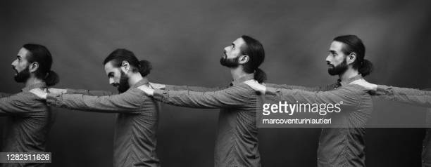 queue of self, surreal photo - marcoventuriniautieri stock pictures, royalty-free photos & images