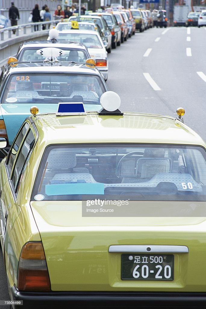 Queue of taxicabs : Stock Photo