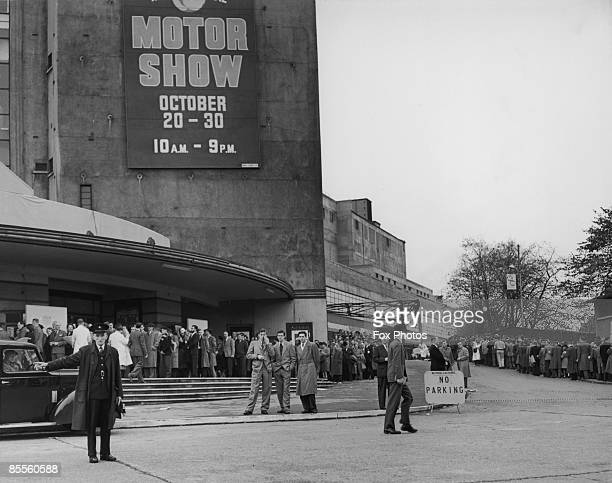 A queue of visitors to see the Motor Show at Earl's Court Exhibition Centre London 23rd October 1954