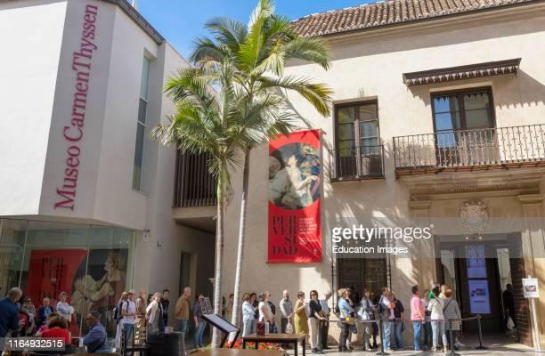 Queue outside Museo Carmen Thyssen, Malaga, Costa del Sol, Malaga Province, Andalusia, southern Spain.