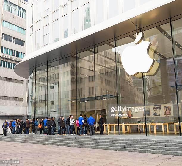 Warteschlange außerhalb Shanghais Apple Store
